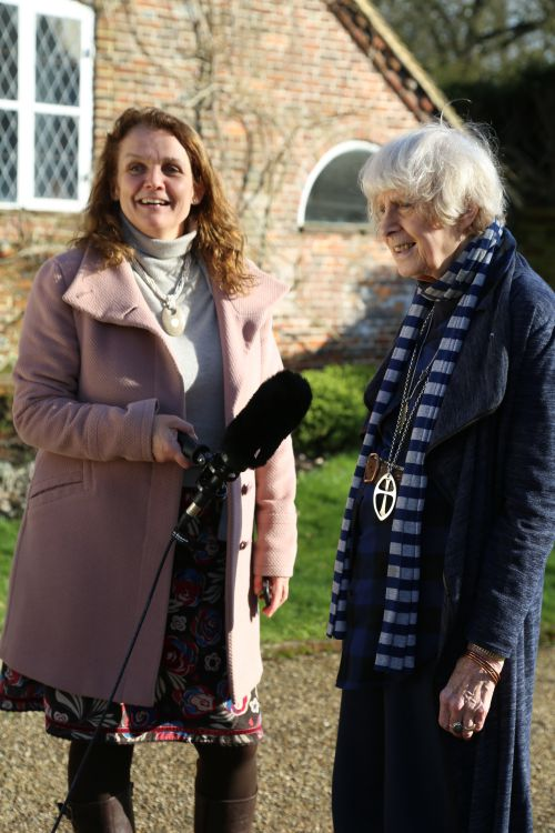 Jenifer Wates and Caroline Arnold being filmed at Bore Place