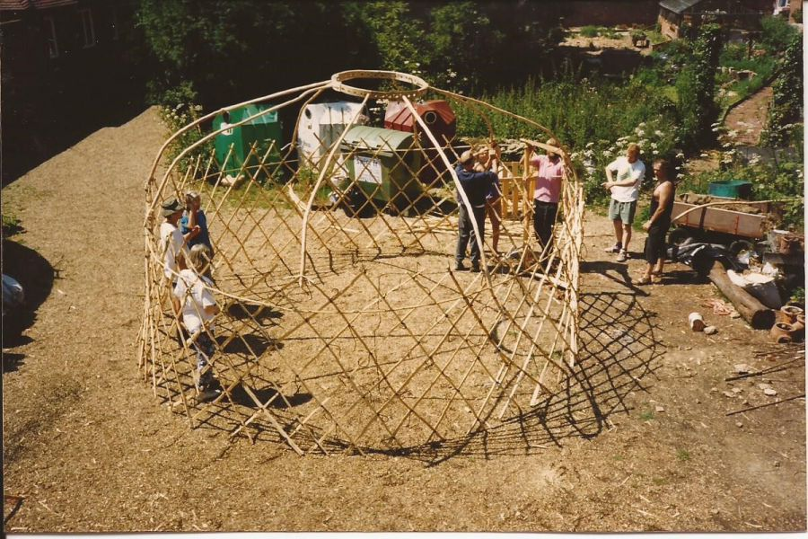 Special needs group building Yurt at Bore Place